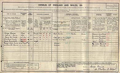 The census schedule of Jennie Baines, Stockport, Cheshire. The National Archives.