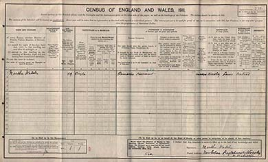The census schedule of Janet Heyes, Worsley near Eccles. The National Archives.