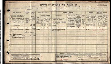 The census schedule of Jessie Stephenson, near Victoria Park, south Manchester. The National Archives.