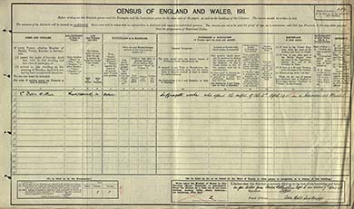 The census schedule of Lillian Dove-Willcox, evading in a 2-roomed caravan in rural Wiltshire.  The National Archives.